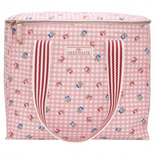 Greengate Kühltasche VIOLA pale pink Rosa Karo Blumen Isoliertasche Picknick