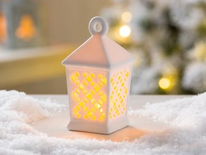 LED Laterne OLETTA weiß 12 cm Porzellan Deko Objekt mit Licht