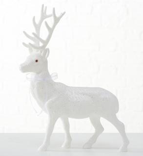 Hirsch ROBERT Weiß 40cm Kunststoff Deko Figur Weihnachtsdeko Geschenk Aufsteller