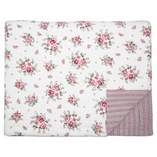 Greengate Quilt ELOUISE Weiß Rot 140x220 Tagesdecke Baumwolle Decke Überwurf