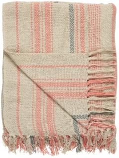 IB Laursen Plaid Creme mit Streifen Coral Sands und Grau 130x160 Wolldecke Decke