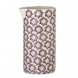 Bloomingville Milchkännchen MAYA Keramik Geschirr Kanne 250 ml Blumen Design rot