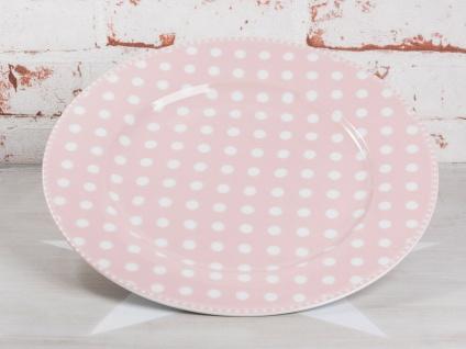 Krasilnikoff Essteller PUNKTE Rosa Teller pink mit weißen Punkten Porzellan 25cm