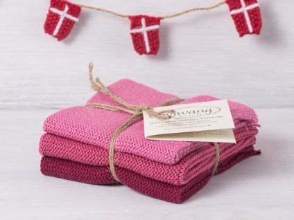 Solwang Wischtuch DUNKEL ROSA KOMBI gestrickt 3er Set Küchentuch Putztuch Spülen
