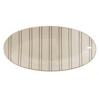 Bloomingville Servierplatte Ava oval creme Streifen grau Goldrand Teller Keramik