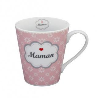 Krasilnikoff Happy Mug Henkel Becher MAMAN Rosa Blumen weiß Herz rot