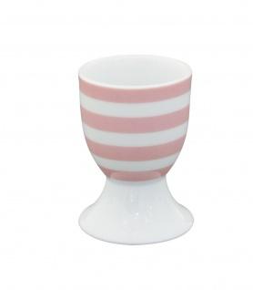 Krasilnikoff Eierbecher STREIFEN Rosa Weiß Porzellan Geschirr gestreift pink