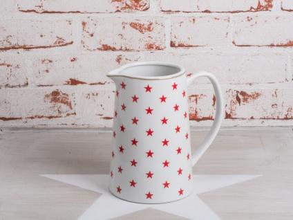 Krasilnikoff Krug STAR Rot Kanne weiß STERNE Porzellan Stern Karaffe 850ml 15 cm - Vorschau 1