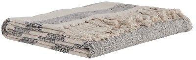 IB Laursen Plaid Streifen creme weiß schwarz Fransen Baumwolle Tagesdecke Wollde
