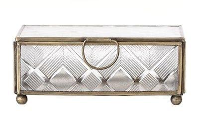 Bloomingville Glas Box Gold Rahmen groß Schmuckbox Schatulle Dose mit Deckel