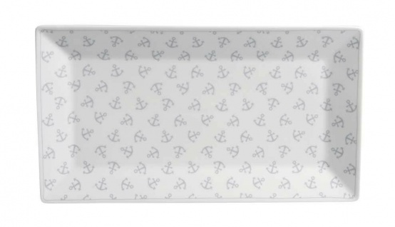 Krasilnikoff Tablett Teller ANKER Porzellan Teller eckig weiß m Ankern 14x25 cm