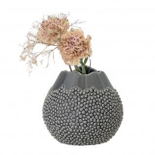 Bloomingville Vase Grau Keramik 17 cm hoch Rund Punkte Design Blumenvase Deko