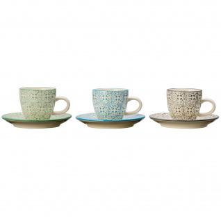 Bloomingville Espresso Tasse ISABELLA mit Untertasse 3er Set Keramik Geschirr