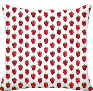 Krasilnikoff Kissen ERDBEERE Weiß Kissenhülle 50x50 Baumwolle rote Erdbeeren