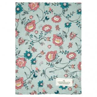 Greengate Geschirrtuch SIENNA Dusty Mint Grün Blumen Baumwolle 50x70 Küchentuch