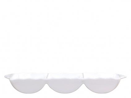 Chic Antique Schale PROVENCE mit 3 Fächern Porzellan Geschirr Weiß Schüssel