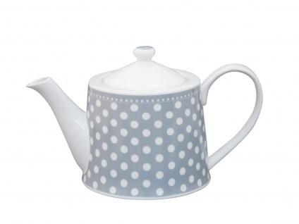 Krasilnikoff Teekanne PUNKTE Hellgrau Porzellan 1 Liter Kanne weiß grau gepunkte