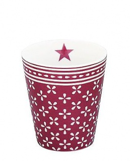 Krasilnikoff Becher Happy Mug DAISY Pflaume Tasse Porzellan Kaffeebecher