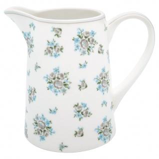 Greengate Krug NICOLINE Weiß Blau 1 Liter Kanne Porzellan Geschirr Karaffe