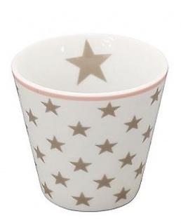 Krasilnikoff ESPRESSO Tasse STERNE Weiß / Taupe Porzellan Stern Becher Kaffee