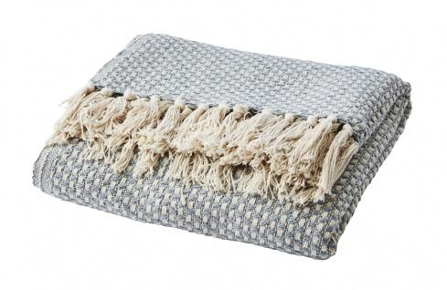 Affari Decke ANNA Hellgrau Recycelt Baumwolle 125x165 Wolldecke Kuscheldecke