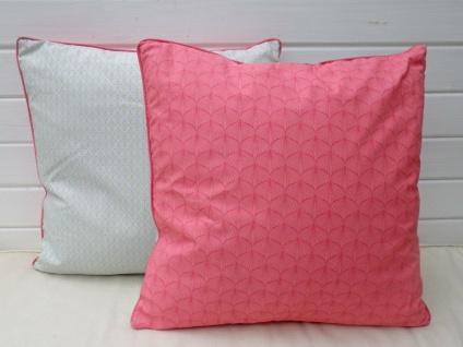 A.U Maison - Kissen mit Füllung frisches Pink Türkis 50x50 Baumwolle