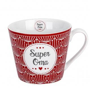 Krasilnikoff Happy Cup Becher SUPER OMA Tasse 300 ml Porzellan Geschirr Rot