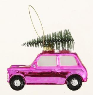 Tannenbaum Hänger Auto mit Baum auf Dach Pink Rosa Glas 10 cm Weihnachtsdeko