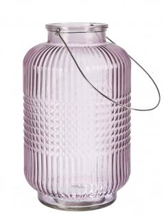 Affari Windlicht Laterne ANJA Rosa Groß Glas Deko Gartenlaterne Tischdeko Vase