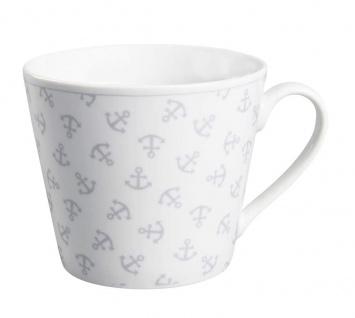 Krasilnikoff Tasse Happy Cup ANKER Porzellan Becher weiß m Ankern 300 ml Maritim