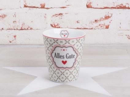 Krasilnikoff Happy Mug Becher ALLES GUTE Weiß Blumen taupe Herz rot rosa Rand