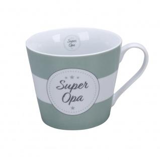 Krasilnikoff Happy Cup Becher SUPER OPA mit Streifen Kaffeebecher 300 ml Tasse