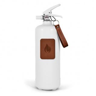 Nordic Flame FEUERLÖSCHER WEISS Leder Dunkel 2 Kg ABC Pulver Design Brandschutz