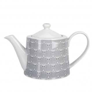 Krasilnikoff Teekanne BLOSSOM Hellgrau Porzellan Geschirr Weiß Grau 1 Liter