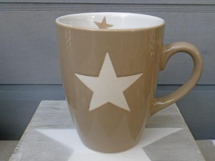 Krasilnikoff Becher BRIGHTEST STAR Taupe Stern weiß Kaffeebecher Keramik 250 ml