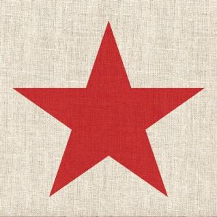Ambiente Servietten STAR LINEN RED Leinen Optik Sand STERN Rot 20 Stk 3-lg 33x33