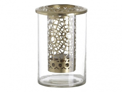 A Simple Mess Teelichthalter KATHRINA Glas Metall Gold Windlicht Teelichthalter