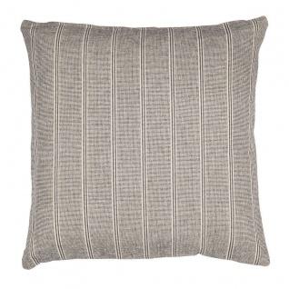 IB Laursen Kissen grau/creme gestreift Kissenhülle 50x50 Kissenbezug Baumwolle