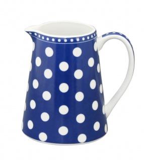 Krasilnikoff Milchkännchen PUNKTE Dunkelblau Porzellan Sahnekännchen blau weiß