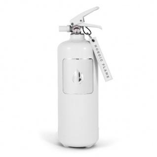 Nordic Flame FEUERLÖSCHER WEISS Silber 2 Kg ABC Pulver Design Brandschutz