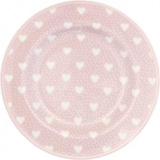Greengate Teller PENNY PALE PINK Rosa mit Herzen 15 cm Porzellan Dessertteller