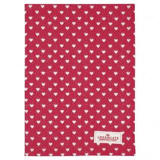 Greengate Geschirrtuch PENNY Rot mit Herzen Baumwolle 50x70 cm Küchentuch