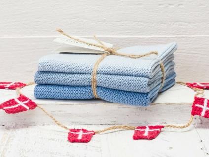 Solwang Wischtuch EISBLAU KOMBI gestrickt 3er Set Küchentuch Spültuch Putztuch