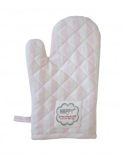 Krasilnikoff Ofenhandschuh STREIFEN Rosa Baumwolle pink weiß gestreift