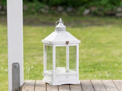 Laterne ROMANTICA 53 cm Gartenlaterne Holz weiß Windlicht Shabby Chic Landhaus