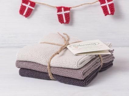 Solwang Wischtuch WARM GRAU KOMBI gestrickt 3er Set Küchentuch Spültuch Putztuch