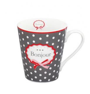Krasilnikoff Happy Mug Henkel Becher BONJOUR Dunkelgrau Punkte weiß grau