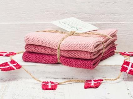 Solwang Wischtuch ANTIKES ROSA KOMBI gestrickt 3er Set Küchentuch Putztuch