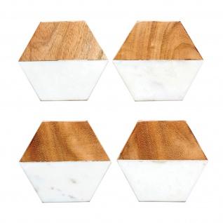 Bloomingville Untersetzer FLEUR DE SEL 4 Stck Set Marmor Holz 10x12 Bierdeckel