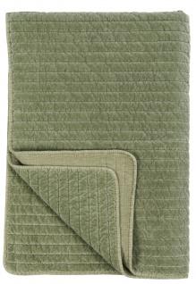 IB Laursen Quilt SAMT OLIVE Velour Decke 130x180 Kuscheldecke Grün Tagesdecke